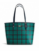 Coach Coated Canvas Riley Plaid City Tote