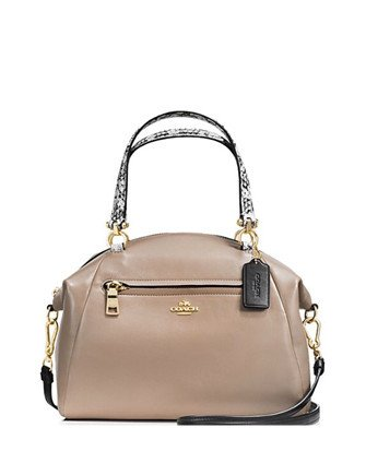 Coach Colorblock Exotic Embossed Leather Prairie Satchel