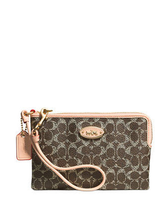 Coach Corner Zip Wristlet in Embossed Signature Canvas