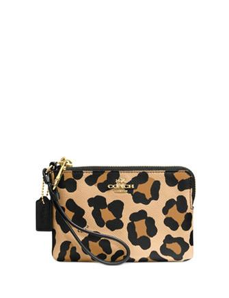 Coach Corner Zip Wristlet in Ocelot Print Grossgrain Leather