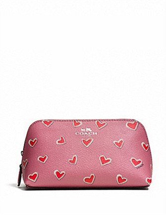 Coach Cosmetic Case 17 in Heart Print Pink Coated Canvas