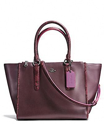 Coach Crosby Carryall In Python Emobssed Leather Trim