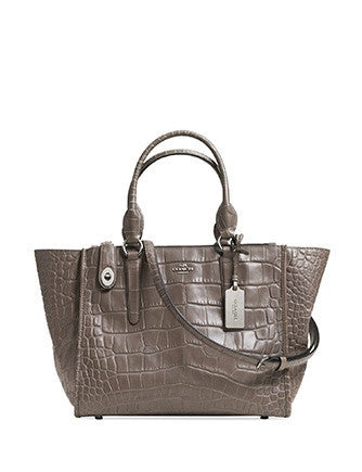 Coach Crosby Carryall Zip Top  In Croc Embossed Leather
