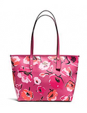 Coach Large City Zip Tote in Wildflower Crossgrain Leather