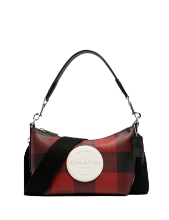 Coach Dempsey Shoulder Bag With Buffalo Plaid Print And Coach Patch