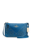 Coach Mini Studs Zip Top Crossbody In Textured Pebble Leather