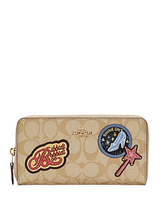 Coach Disney X Accordion Zip Wallet In Signature Canvas With Patches