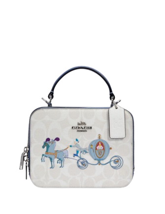 Coach Disney X Coach Box Crossbody In Signature Canvas With Cinderella