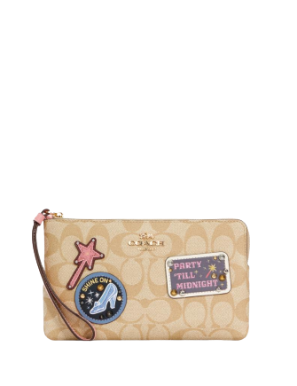 Coach Disney X Large Corner Zip Wristlet In Signature Canvas With Patches