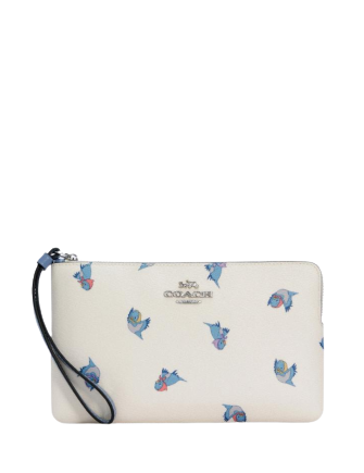 Coach Disney X Large Corner Zip Wristlet With Cinderella Flying Birds Print