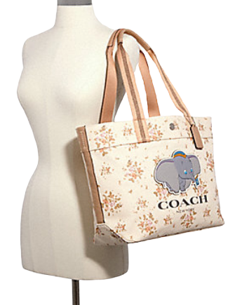 Coach Disney X Tote With Rose Bouquet Print and Dumbo