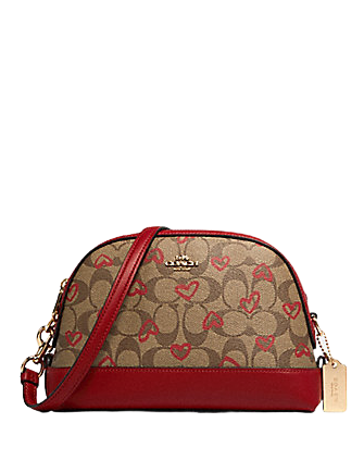 Coach Dome Crayon Hearts Love Signature Canvas Crossbody