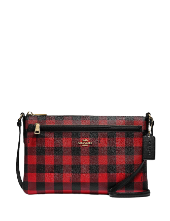 Coach East West Buffalo Plaid Print Crossbody Bag With Pop Up Pouch