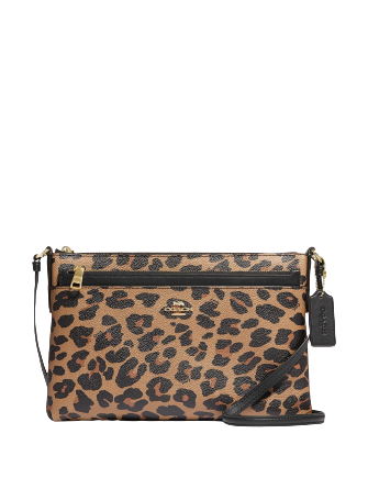 Coach East West Crossbody With Pop Up Pouch With Leopard Print