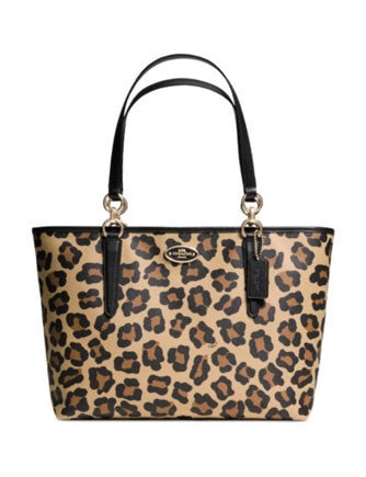 Coach Ellis Tote in Ocelot Print Leopard Coated Canvas