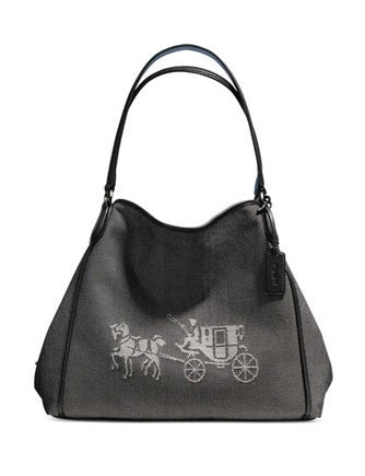 Coach Horse and Carriage Canvas Edie Shoulder Bag