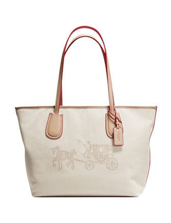 Coach Horse and Carriage Taxi Zip Shoulder Tote in Canvas