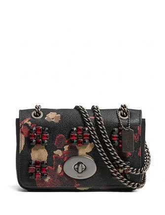 Coach Jewels Mini Floral Print Leather Chain Crossbody