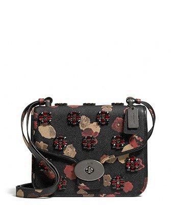 Coach Page Shoulder Bag in Jeweled Floral Print Leather