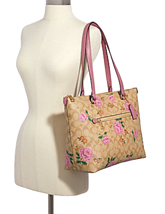 Coach Gallery Tote in Signature Canvas With Prairie Rose Print