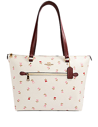 Coach Gallery Tote With Heart Floral Print