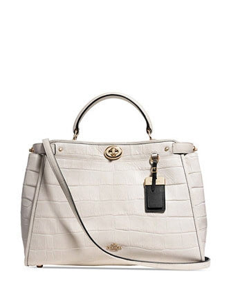 Coach Gramercy Top Handle Satchel in Croc Embossed Leather