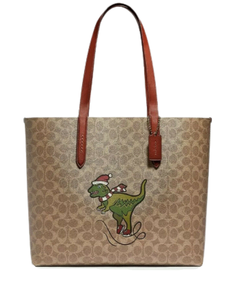 Coach Holiday Rexy Signature Print Highline Tote