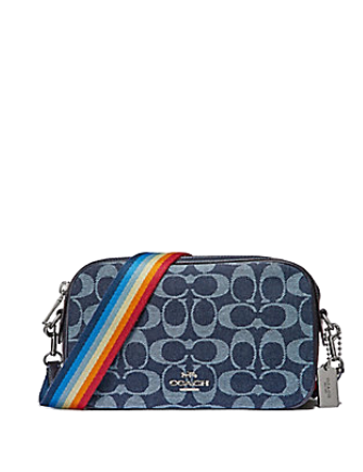 Coach Isla Signature Denim Crossbody With Rainbow Strap
