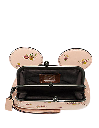 Coach Kisslock Wristlet With Floral Mix and Minnie Mouse Ears