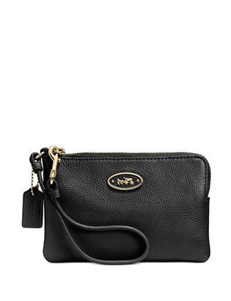Coach L-Zip Small Wristlet Wallet In Leather