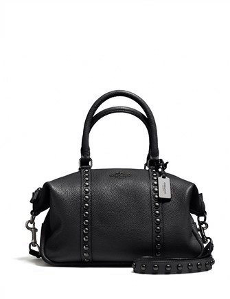 Coach Lacquer Rivets Pebble Leather Central Satchel