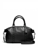 Coach Lacquer Rivets Pebbled Leather Central Satchel