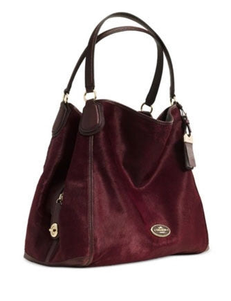 Coach Large Edie Shoulder Bag In Haircalf Leather
