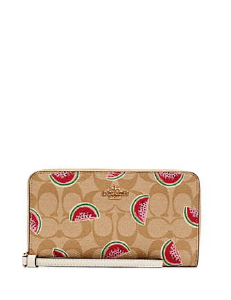 Coach Large Phone Wallet in Signature Canvas With Watermelon Print