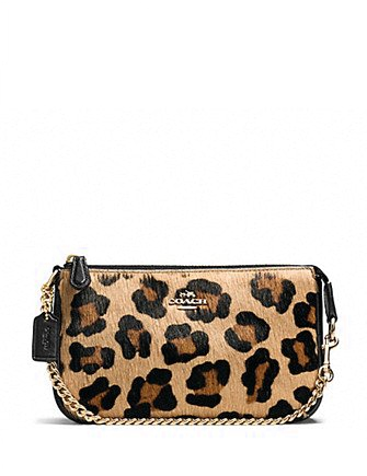 Coach Large Wristlet 19 in Leopard Print Haircalf