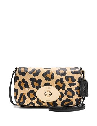 Coach Liv Crossbody In Ocelot Print Crossgrain Leather
