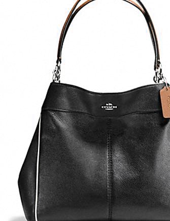 Coach Lexy Shoulder Bag With Contrast Trim In Pebble Leather