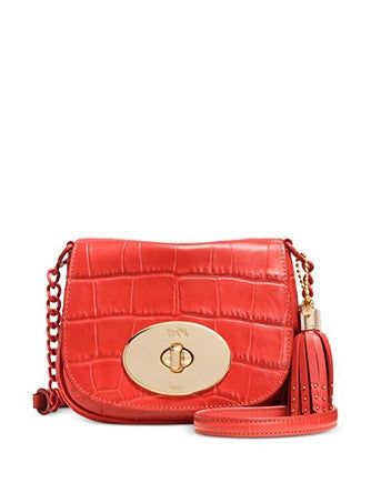 Coach Liv Turnlock Crossbody in Croc Embossed Leather