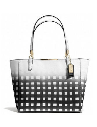 Coach East West Madison Gingham Saffiano Leather Tote
