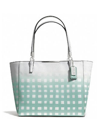 Coach Madison East West Gingham Saffiano Leather Tote