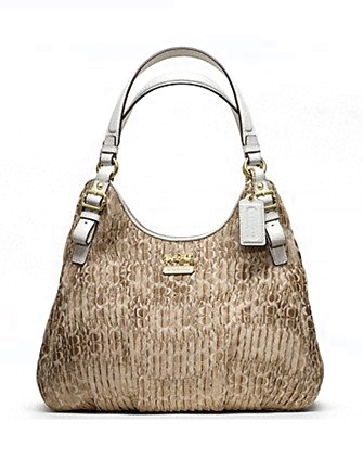 Coach Madison Gathered Signature Fabric Maggie Hobo