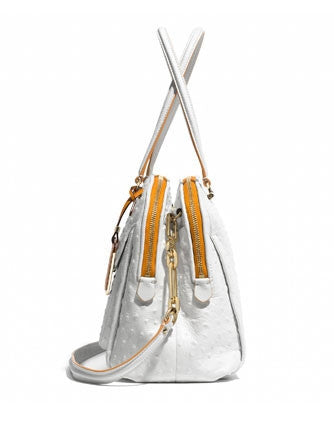 Coach Madison Georgie Satchel in Ostrich Embossed Edgepaint Leather