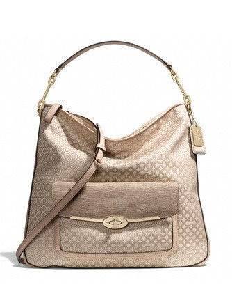 Coach Madison Hobo Shoulder Bag In Op Art Pearlescent Fabric
