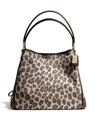Coach Madison Jacquard Ocelot Small Phoebe Shoulder Bag