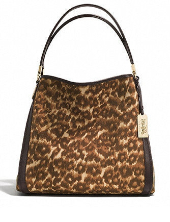 Coach Madison Small Ocelot Fabric Phoebe Shoulder Bag