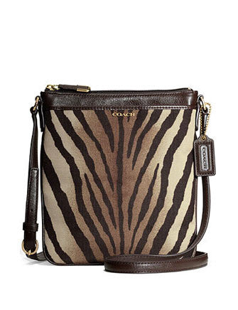 Coach Madison Swingpack in Zebra Print Fabric Crossbody