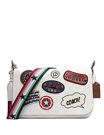 Coach Marvel Jes Messenger in Signature Canvas With Patches