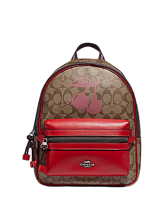 Coach Medium Charlie Backpack in Signature Canvas With Cherry Motif