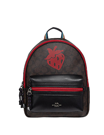 Coach Medium Charlie Backpack in Signature Canvas With Strawberry Motif