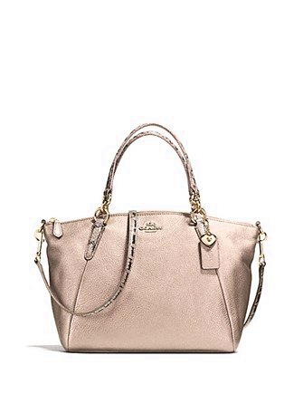 Coach Metallic Leather Exotic Trim Small Kelsey Satchel